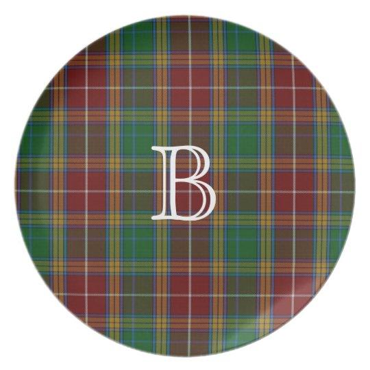 Colourful Baxter Monogram Tartan Plaid Plate