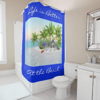 Colourful Beach Hut & Palm Trees on the Beach Shower Curtain