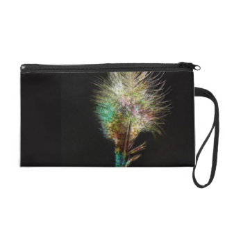Colourful Beautiful Feather with Black Ground Wristlet