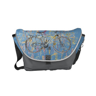 Colourful bicycle drawing messenger bag