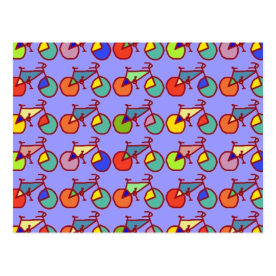 colourful bikes pattern postcard