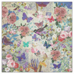 Colourful bird butterflies vintage floral pattern fabric