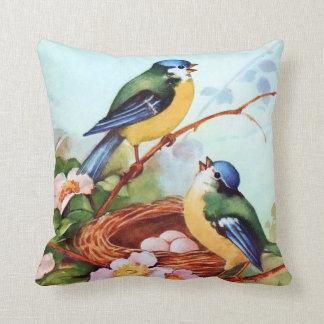 Colourful Birds in Springtime Throw Pillow
