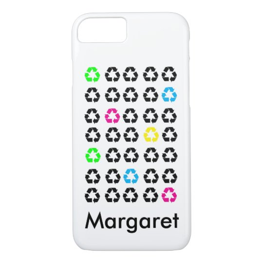 Colourful Black Recycle Symbols Personalise iPhone 8/7 Case