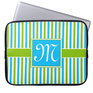 Colourful Blue and Green Stripe Pattern Monogram Laptop Sleeve