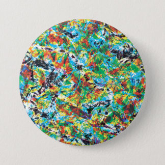 Colourful blue green spring flower pattern art 7.5 cm round badge