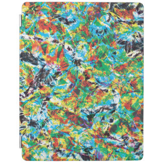 Colourful blue green spring flower pattern art iPad cover