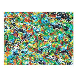 Colourful blue green spring flower pattern art postcard