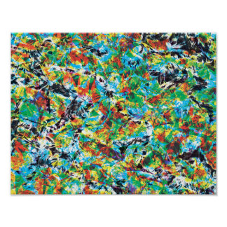 Colourful blue green spring flower pattern art poster