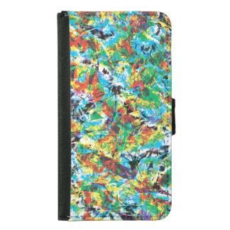 Colourful blue green spring flower pattern art samsung galaxy s5 wallet case
