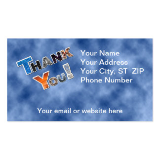 """Colourful Blue """"Thank You"""" Business Cards"""