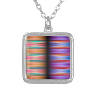 Colourful blurred stripes pattern silver plated necklace