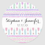 Colourful Boho Tribal Aztec Feather Arrows Pattern Round Sticker