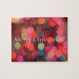 Colourful Bokeh Lights Merry Christmas Greeting Jigsaw Puzzle