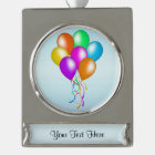 Colourful Bright Bunch of Balloons Silver Plated Banner Ornament