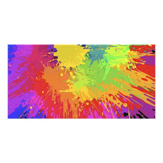 Colourful Bright Ink Splat Design Vector Picture Card