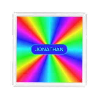 Colourful Bright Rainbow Personalize .. Acrylic Tray