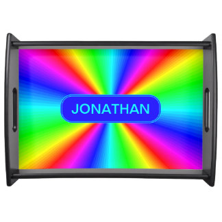 Colourful Bright Rainbow Personalize .. Serving Tray