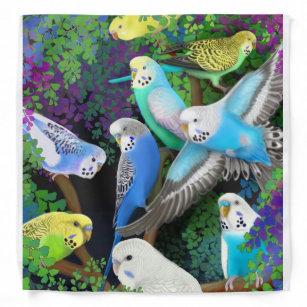 Colourful Budgerigar Parrots in Ferns Bandanna