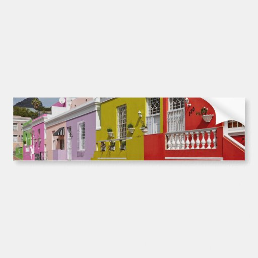 Colourful Buildings in Bo-Kaap, Cape Town Bumper Stickers
