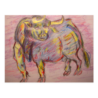 colourful bull pamplona postcard