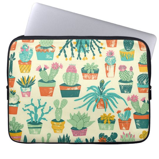 Colourful Cactus Flower Pattern Laptop Sleeve