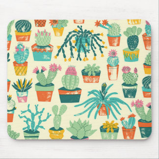 Colourful Cactus Flower Pattern Mouse Pad