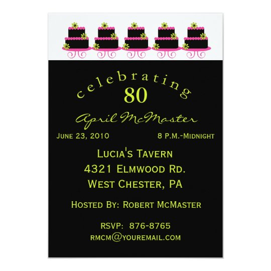 Colourful Cake 80th Birthday Party Invitation