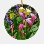 Colourful calla lily flowers ceramic ornament