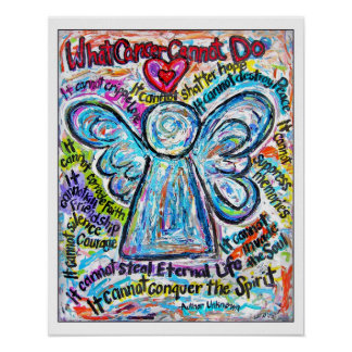 Colourful Cancer Angel Art Poster Print -White