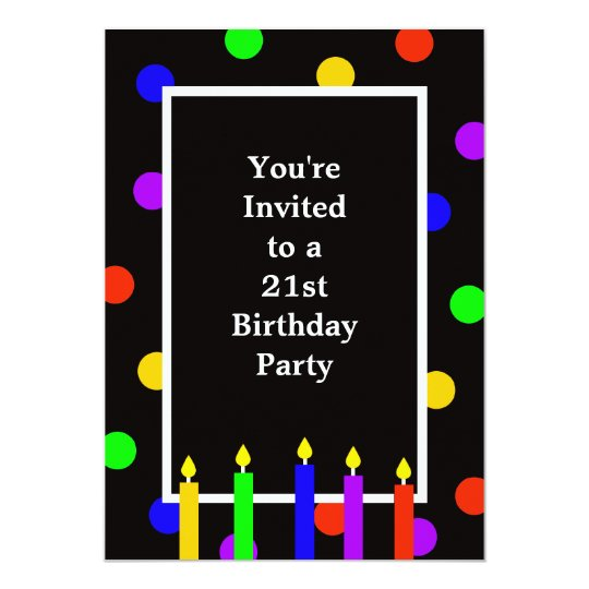 Colourful Candles 21st Birthday Party Invitation