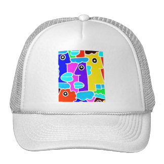 Colourful Cartoon Faces with Fat Blue Lips (m6inv) Cap