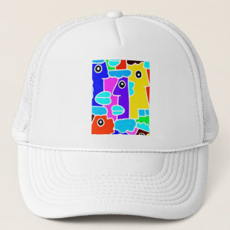 Colourful Cartoon Faces with Fat Blue Lips (m6inv) Trucker Hat