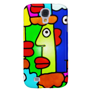 Colourful Cartoon Faces with Fat Red Lips (m6p) Samsung Galaxy S4 Case