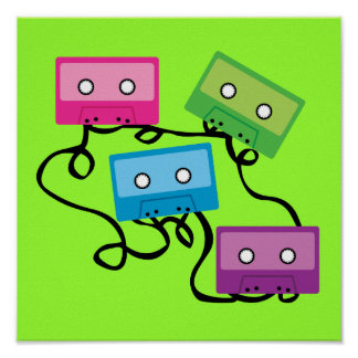 Colourful Cassette Tapes Poster