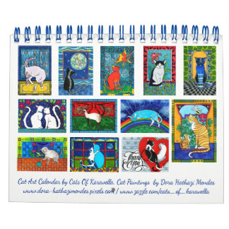 Colourful Cat Art Calendar by Cats of Karavella