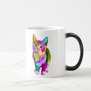 Colourful cat - art cat - cat lover magic mug