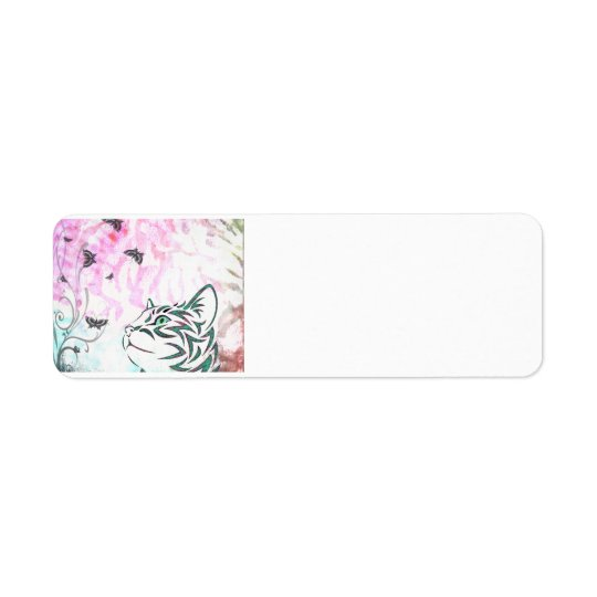 Colourful Cat Return Address Label
