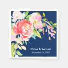 Colourful Cattails and Floral Wedding Disposable Napkin