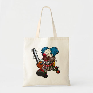 Colourful Chainsaw Clown Halloween Horror Cartoon Tote Bag