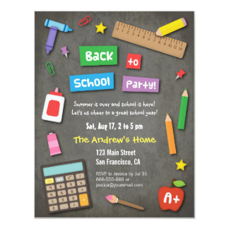 Colourful Chalkboard Back to School Party 11 Cm X 14 Cm Invitation Card