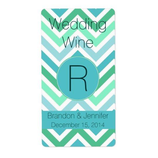 Colourful Chevron Monogram Wedding Mini Wine Label Shipping Label