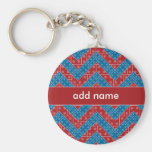Colourful Chevron Pattern with Bricks Red Blue Basic Round Button Key Ring