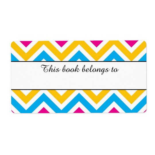 """Colourful Chevron """"This Book Belongs To"""" Labels"""
