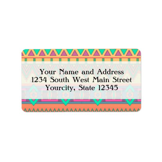 Colourful Chevron Zig Zag Tribal Aztec Ikat Address Label