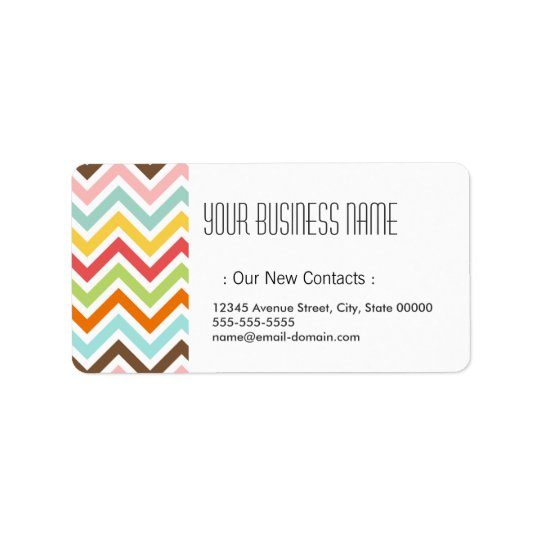 Colourful Chevron Zigzag Stripes Pattern Label