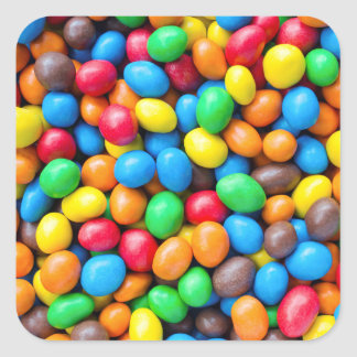 Colourful Chocolate Coated Sweets Square Sticker