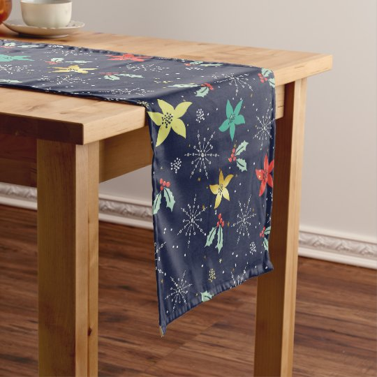 Colourful Christmas Foliage & Christmas Stars Medium Table Runner
