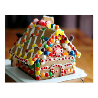 Colourful Christmas Gingerbread House Postcard