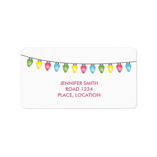 Colourful Christmas Lights Address Label